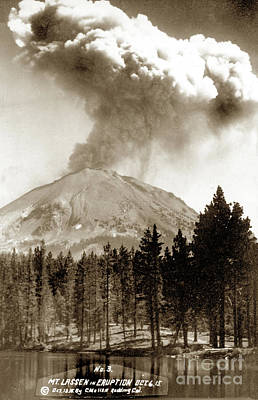 Photograph - Mt. Lassen In Eruption Oct. 6, 1915 by California Views Mr Pat Hathaway Archives