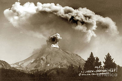 Photograph - Mt. Lassen In Eruption, October 6, 1915 by California Views Archives Mr Pat Hathaway Archives