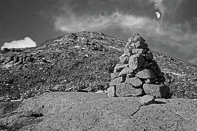 Photograph - Mt. Marcy Rock Cairn Keene Valley Ny New York Black And White by Toby McGuire