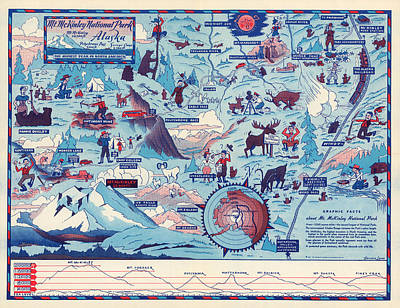 Mixed Media - Mt. Mckinley National Park - Alaska - Vintage Illustrated Map - Graphic Map by Studio Grafiikka