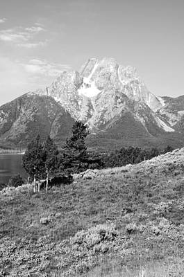 National Park Photograph - Mt Moran And Skillet Glacier From Elk Island On Jackson Lake Black And White by Shawn O'Brien