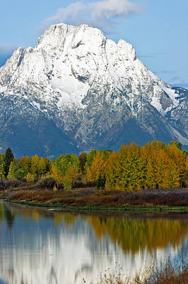 Foilage Photograph - Mt Moran From Ox Bow Bend by Gary Langley