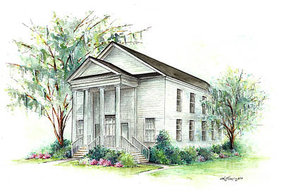 Mt. Pleasant Sc Painting - Mt. Pleasant Presbyterian Church by Lindsey Fisher