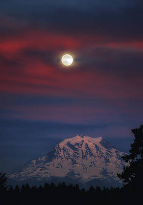Photograph - Mt Rainer Super Moon by Jason Butts