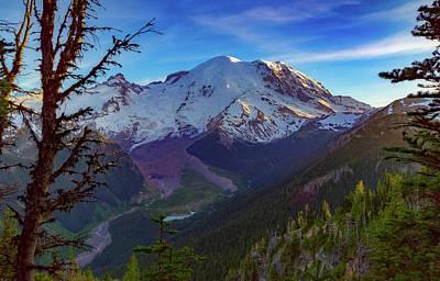 Mt Rainier At Emmons Glacier Art Print by Ken Stanback