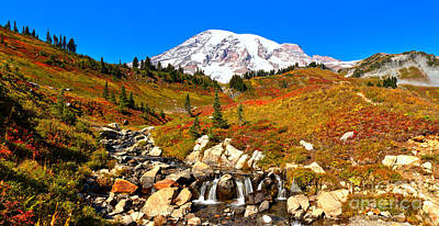 Photograph - Mt Rainier Edith Creek Panorama by Adam Jewell
