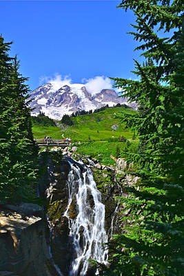 Photograph - Mt. Rainier From Myrtle Falls by Don Mercer
