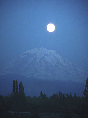 Mt Rainier Full Moon Art Print