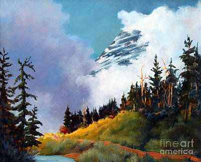 Painting - Mt. Rainier In Clouds by Marta Styk