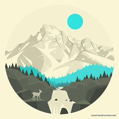Rainy Digital Art - Mt Rainier National Park - 2 by Jazzberry Blue