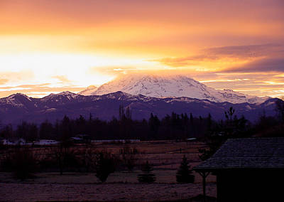 Mt. Rainier On Fire Art Print by Shirley Heyn