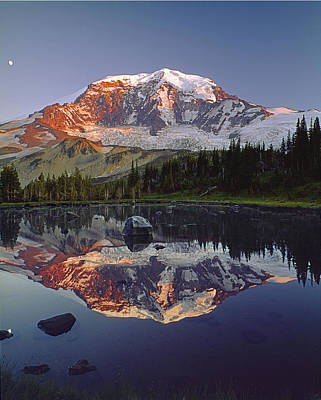 Photograph - 2m4858-v-mt Rainier Reflect  by Ed  Cooper Photography