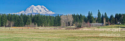 Photograph - Mt. Rainier Valley Ranch by Ansel Price