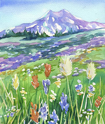 Painting - Mt Rainier Wildflowers by Peggy Wilson
