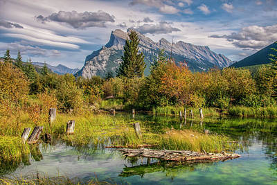 Art Print featuring the photograph Mt. Rundle 2009 03 by Jim Dollar
