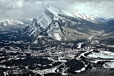 Photograph - Mt Rundle Aerial View by Adam Jewell