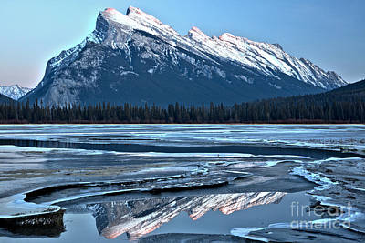 Photograph - Mt Rundle Blue Sky Reflections by Adam Jewell