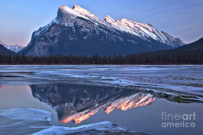 Photograph - Mt Rundle Pink Peak Reflections by Adam Jewell