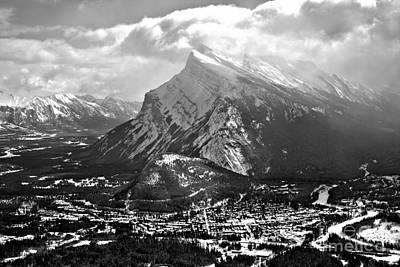 Photograph - Mt Rundle Reaching For The Ski Black And White by Adam Jewell