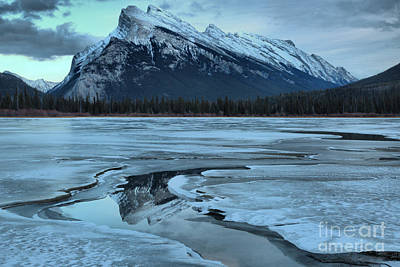 Photograph - Mt Rundle Refelctions In The Water Channel by Adam Jewell