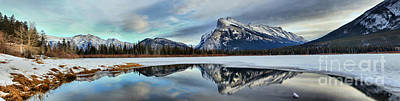 Photograph - Mt Rundle Reflection Panorama by Adam Jewell
