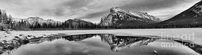 Photograph - Mt Rundle Reflections Black And White by Adam Jewell