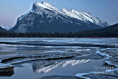 Photograph - Mt Rundle Reflections In The Ice by Adam Jewell