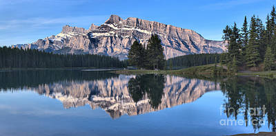 Photograph - Mt. Rundle Two Jack Reflections With Trees by Adam Jewell
