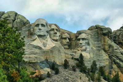 Digital Art - Mt Rushmore 3 by Ernie Echols