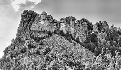 Photograph - Mt Rushmore Black And White Panorama by Adam Jewell