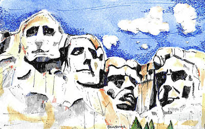 Painting - Mt. Rushmore, Usa by Terry Banderas
