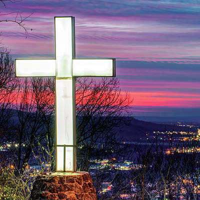 Royalty-Free and Rights-Managed Images - Mt Sequoyah Cross at Sunset - Square Print - Fayetteville Arkansas by Gregory Ballos