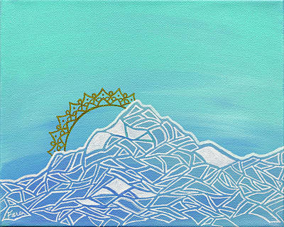 Snow-covered Landscape Mixed Media - Mt. Serenity  by Faren Peterson