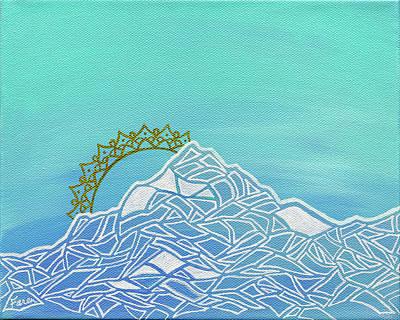 Ski-scape Mixed Media - Mt. Serenity  by Faren Peterson