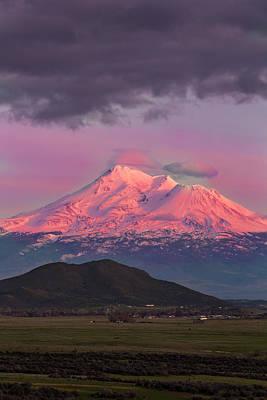 Photograph - Mt Shasta Alpenglow by Jeremy Jensen