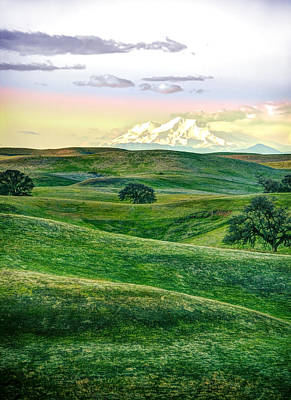 Mt Shasta With Glenn-tehama Foothills Art Print by Ron Schwager