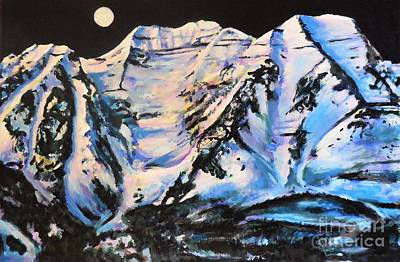 Painting - Mt. Timpanogos Under A Full Moon by Cami Lee