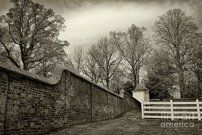 Photograph - Mt. Vernon Garden Wall Black And White by Karen Adams