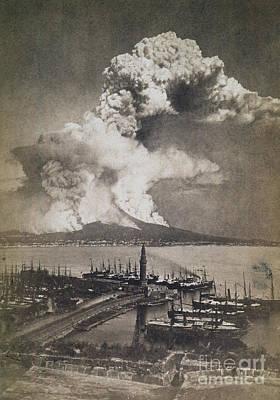 Photograph - Mt. Vesuvius Erupting by Granger
