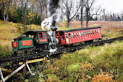 New Hampshire Tours Photograph - Mt Washington Cog Railway And Train by Sherry  Curry