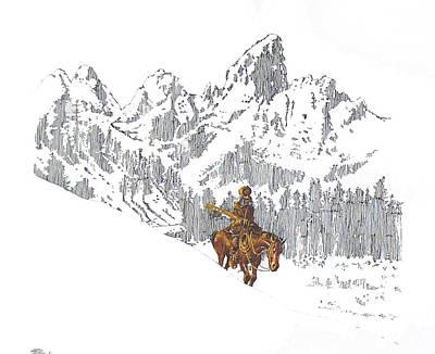 Teton Drawing - Mt.man In The Tetons by Martin Goldman
