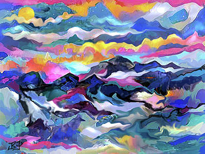 Digital Art - Mts. In The Sea by Jean Batzell Fitzgerald