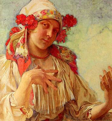 Mucha Alphonse Maria Young Girl In A Moravian Costume Art Print