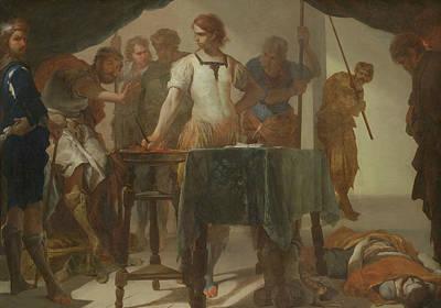 Confronting Painting - Mucius Scaevola Confronting King Porsenna by Bernardo Cavallino