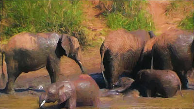 Painting - Mud Bath At Elephant Pond by Ericamaxine Price