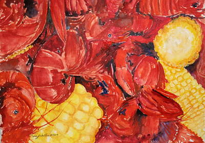 Boiled Crawfish Painting - Mud Bugs by Bobby Walters