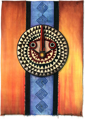 Mixed Media - Mud Cloth Mask by Anthony Burks Sr