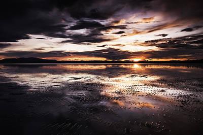 Puget Sound Photograph - Mud Flats Sunset by Paul Conrad
