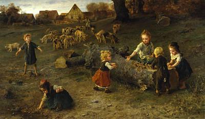 German Art Painting - Mud Pies by Ludwig Knaus