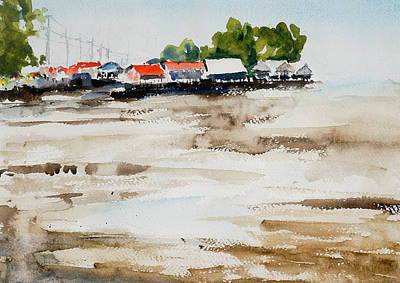 Painting - Mudflats At Samut Sakorn by Tom Simmons